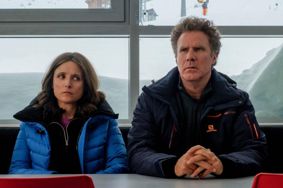 Julia Louis-Dreyfus and Will Ferrell sitting together in Downhill