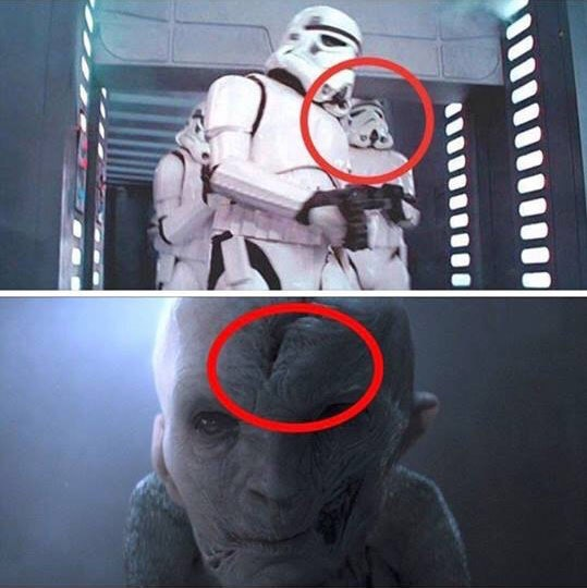 Stormtrooper bumping head and Snoke being the same person