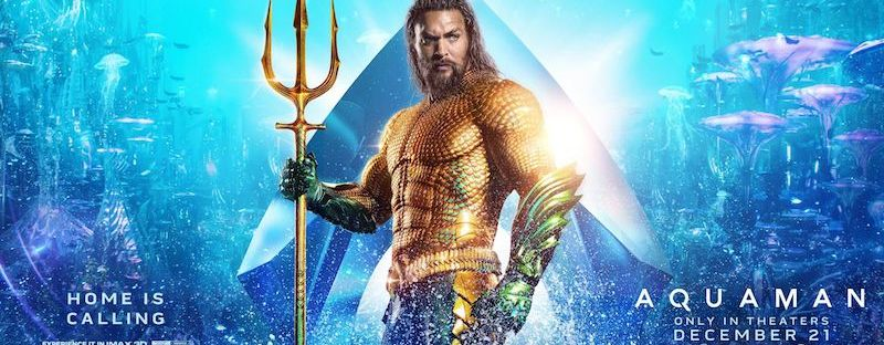 aquaman movie poster with Jason Mamoa and Trident