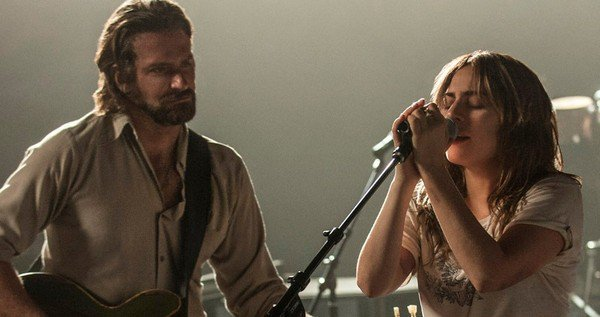 Bradley Cooper playing guitar while Lady Gaga sings in A Star Is Born