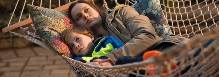 Brie Larson and Jacob Tremblay in a hammock for Room