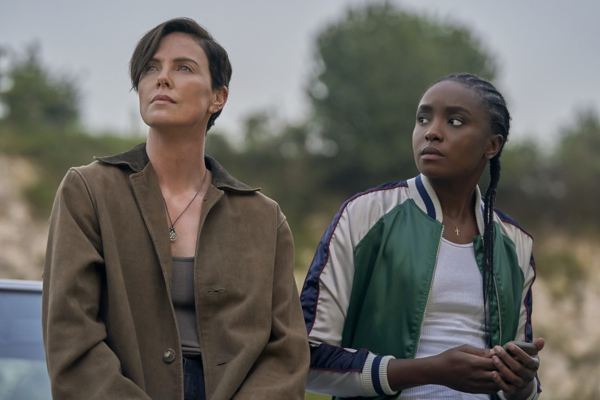 charlize theron standing with kiki layne