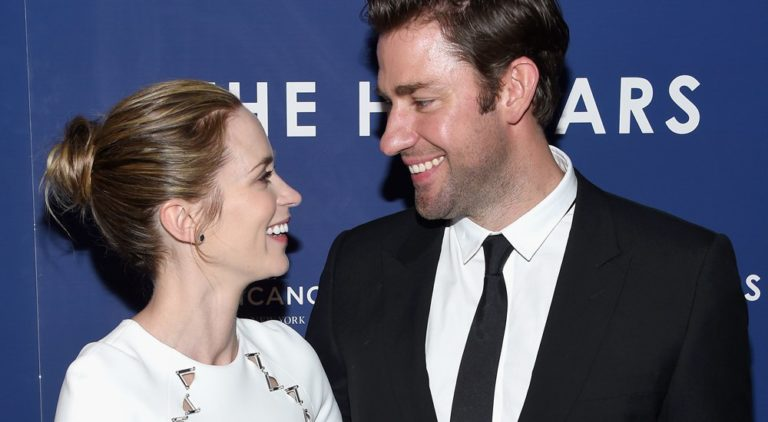 John Krasinski and Emily Blunt at the premiere of The Hollars