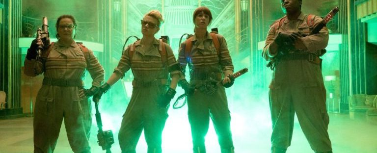 The Ghostbusters (2016) group shot with proton packs