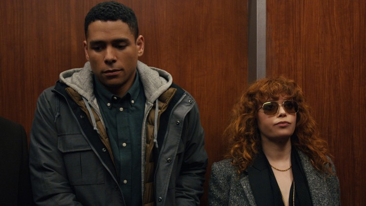 Natasha Lyonne and Charlie Barnett in an elevator in Russian Doll