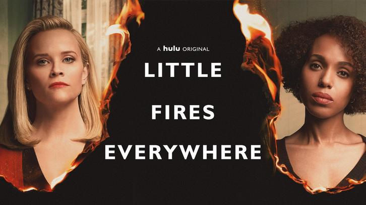 Little Fires Everywhere poster with pictures of Reese Witherspoon and Kerry Washington burning