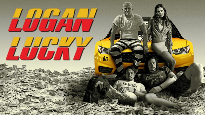 Daniel Craig, Riley Keough, Adam Driver, and Channing Tatum on car and money in Logan Lucky