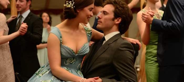 Emilia Clarke sitting in Sam Claflin's lap in Me Before You