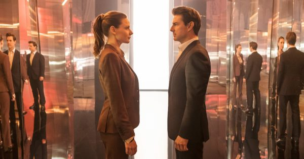 Tom Cruise and Rebecca Ferguson meeting face to face in Mission Impossible: Fallout