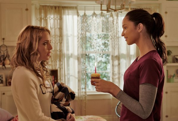 Lori (Ruby Modine) giving Tree (Jessica Rothe) a birthday cupcake in Happy Death Date