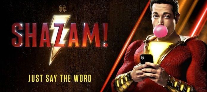 Zachary Levi as Shazam blowing bubblegum movie poster