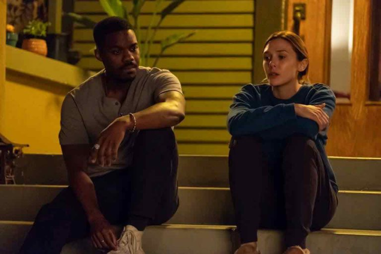 Elizabeth Olsen and Jovan Adepo sitting on the stairs in Sorry For Your Loss