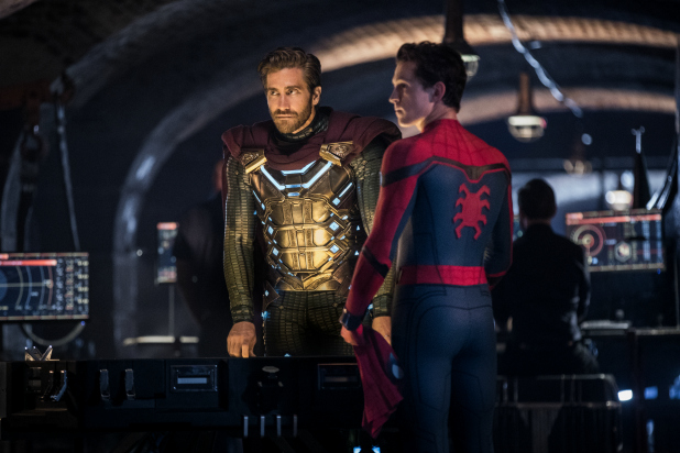 Jake Gyllenhaal as Mysterio and Tom Holland as Spider-Man talking in Spider-Man Far From Home