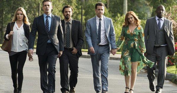 Group photo with Isla Fisher, Jon Hamm, Jake Johnson, Annabelle Wallis, Ed Helms, and Hannibal Buress