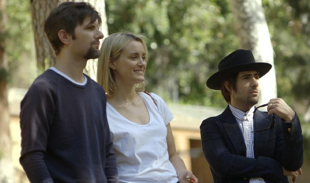 Taylor Schilling, Adam Scott, and Jason Schwartzman in The Overnight