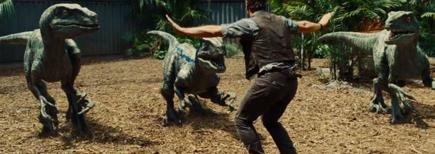 Chris Pratt wrangling velociraptors in Jurassic World