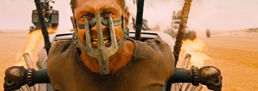 Tom Hardy strapped to front of car in Mad Max Fury Road