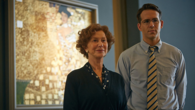 helen mirren and ryan reynolds in an austrian musem in the woman in gold