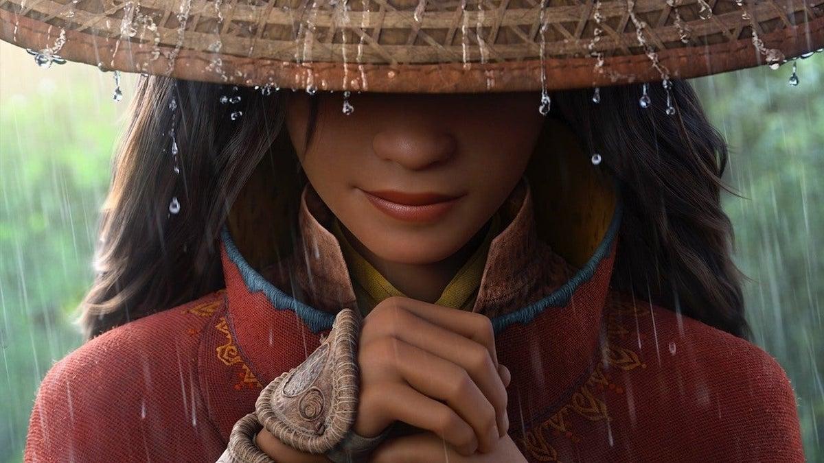 Raya and the last dragon Raya in hat with rain