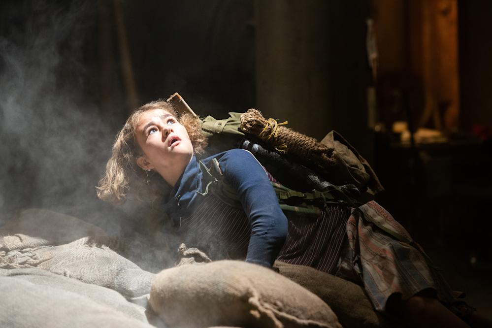 Millicent Simmonds as Regan falling down hole in A Quiet Place Part II