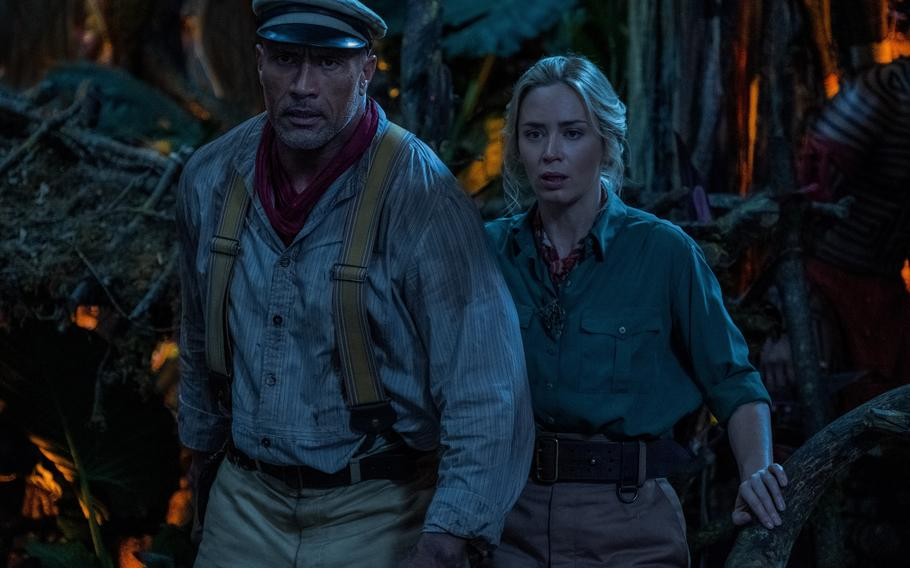 Night time Emily Blunt Dwayne Johnson in Jungle Cruise